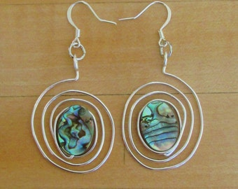 Silver Wire and Mother of Pearl Spiral Earrings