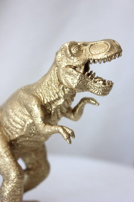 Gold Dinosaur Cake Topper T Rex Tyrannosaurus Figurine Animal