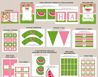 Watermelon Birthday Party Printables, Printable Watermelon Decorations, Pink, Green, Invitation Included, Printable PDFs
