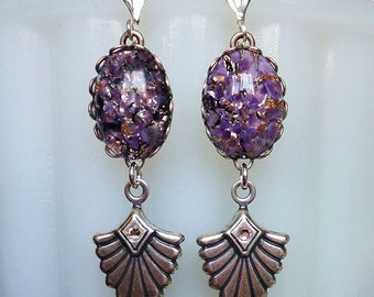 Purple Constellation // Vintage Purple Glass Jewel & Silver Drop Earrings, 1950s Fire Opal Art Deco Bohemian Amethyst Flapper Gatsby Retro
