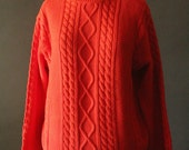 Vintage 90's Bright Orange Cotton Cable Knit Turtleneck Pullover Sweater by Wainscott, size S
