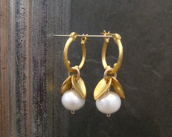 Pearl earrings, freshwater pearl, white pearl, leaf and pearl, small hoops, leaf earrings, June birthstone, pearl hoops, gold hoop, dangle