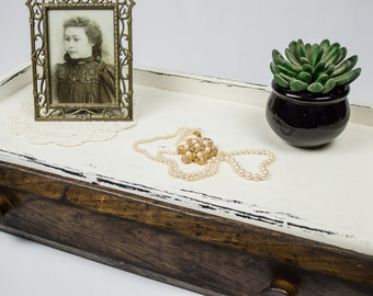 Old Vanity Drawer / Dresser Topper / Distressed White with Brown Drawer / Shabby Chic Storage Drawer / Vintage Dresser Drawer