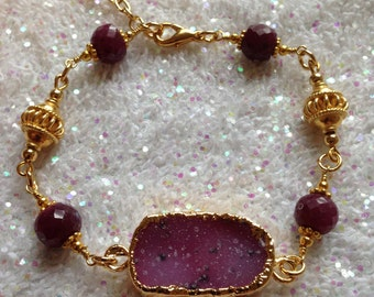 Druzy Ruby Gold Vermeil Bali Beads Gold Plated Bracelet  BG1567