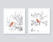 Oiseaux sur Branches Art pariétal - oiseaux modernes - lot de 2 - oiseaux sur Magnolia arbre - oiseaux rustique - corail et gris décor - Aldari Art