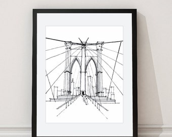 Brooklyn Bridge Print - Brooklyn Bridge Architectural Print - New York Wall Art - New York Architectural Drawing - Grey - Aldari Art