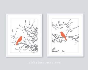 Birds on Branches Art Prints - Modern Birds Art - Set of 2 -  Birds on Magnolia Tree - Rustic Birds - Coral and Gray Decor - Aldari Art