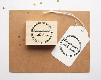 Rubber Stamp Handmade with Love Scalloped Circle Border , Round Stamp