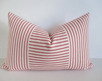 Lumbar Pillow Cover Red Ticking Vertical & Horizontal Stripes Zipper