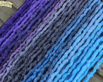 Purple Grey and Blue Crochet Synthetic Dreads x26 DE