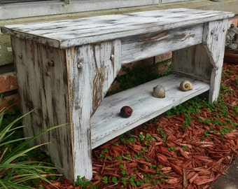 Extra Rustic & Distressed Farm House Bench, Bench With Shelf, Mudroom