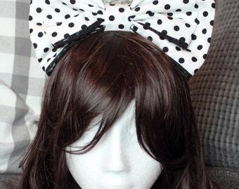 Lolita Bow, Lolita Fashion, Sweet Lolita, Hair Bow, Sweet Lolita Bow, Kawaii Hair Bow, Big Hair Bow, Polka Dot Bow, Lace Bow, Lolita
