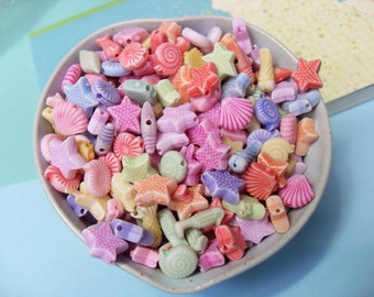 75x 10-14mm Seaside Themed Beads in Pastel Multicolours Shells Fish Starfish Stars