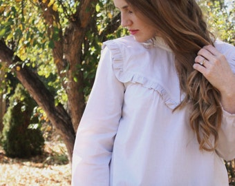 Cream Ruffle Blouse / Long Sleeve Pullover / 1970's Victorian Style / Made To Order