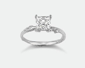Twig engagement ring/ princess cut moissanite/ 14k white gold