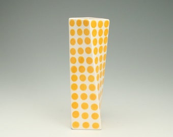 Polka Dots Ceramic Flower Vase, Tall Modern Pottery Vase, Egg Yolk Amber Yellow Twisted Vase, Yellow Orange, Office Desk Accessories