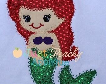 Girls Little Mermaid Applique Shirt, Personalized Embroidery, Custom Applique, Beach Shirt, Mermaid Party, Summer, Shirt