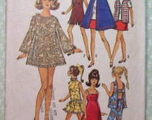 Wardrobe Suitable for 11-1/2 Inch Doll Such as Barbie and Maddie Mod Vintage 1960's Simplicity Pattern 8466 Cut/Complete