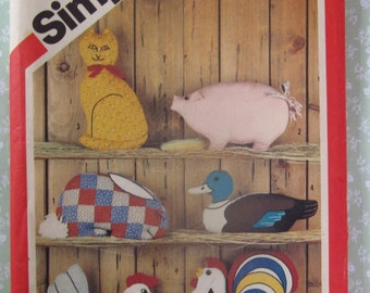 Animal Pillows with Yellow Wax Transfers: Rabbit, Pig, Duck, Hen and Rooster Vintage 1980's Simplicity Pattern 5684 UNCUT