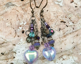 Handmade Earrings, Bohemian Dangles, Crystals, Czech Glass Beads, Hearts, Chains, Antique Brass and Gunmetal