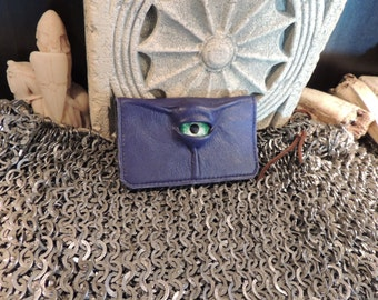 Leather Business Card Holder / small wallet (Green eye in  Purple leather)