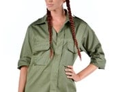 1980's AUTHENTIC Military Style VINTAGE Spanish Army Ladies-Women's Army Green Field Shirt / Jacket By Top Rank Vintage ( UNISSUED)