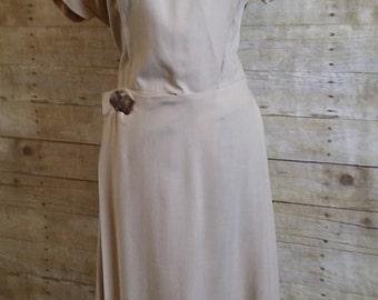 vintage  art deco avant garde novelty button wrap dress Chalet of Dallas size large