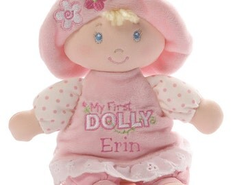 Personalized Gund First Dolly Small Size Blond Hair Blue Eyes Free Shipping