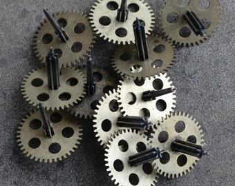 Vintage clock brass gears -- set of 12 -- D10