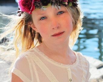 pink purple flower headband, pink headband, flower crown,halo headband,flower girl headband, ready to ship, bridal headband, purple crown