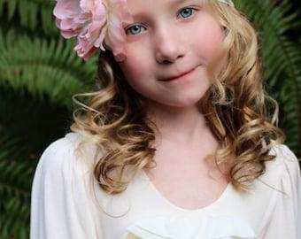 Blush flower headband, light pink peony headband, large flower headband, pink baby headband,flower girl headband