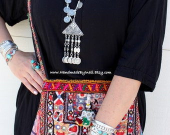 Gypsy Ethnic Long necklace Turkish Antique silver Alloy Bohemian statement necklace Ethnic statement piece by Inali