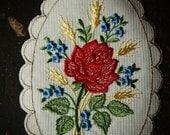 Sweet ROSE Vintage PATCH FLORAL 1970's Applique