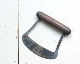 ANTIQUE Herb Chopper with Dark Turned Wood Handle