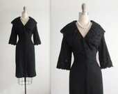 50's Cocktail Dress //  Vintage 1950's Embroidered Black Knit Fitted Cocktail Party Secretary Dress L