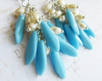 Blue earrings, blue and ivory, cluster earrings, blue jewelry