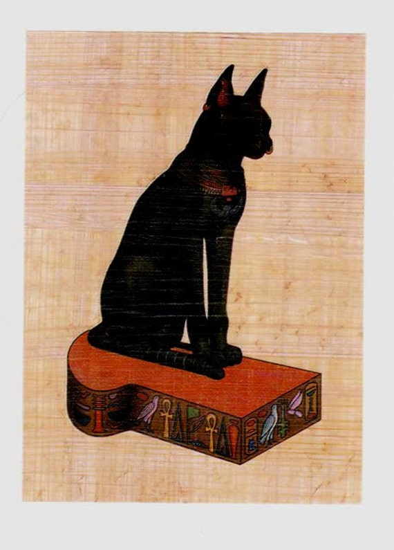 Cat lovers! Our Bastet protector of all cats Egyptian papyrus note card is a unique gift!
