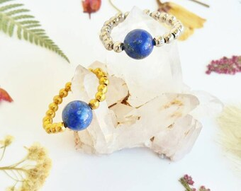 Lapis Lazuli Silver Ring Ajustable Lapis Ring Lapis Stacking Ring