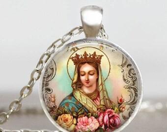Mystical Rose Glass Tile Pendant Virgin Mary Catholic Jewelry Handmade