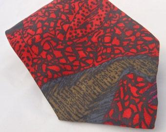 1980s Vintage Black, Olive Magenta and Red Necktie J Blades & Co.