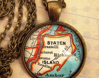Custom Map Jewelry, Staten Island New York, Vintage Map Pendant Necklace, Personalize Map Jewelry, Charms, Cuff Links, Gift Ideas