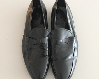 Vintage Mens Black Leather Prada Loafers, Made in Italy, Size 40