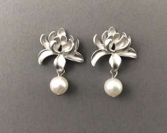 Silver Pearl Earrings With Matte Silver Lotus Flower And White Swarovski Crystal Pearls