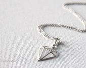 Diamond Necklace in Silver. Love Necklace. Collar Bone Necklace. Love Gift. Valentines. Wedding. Carat. Gift For Her (PNL-121)