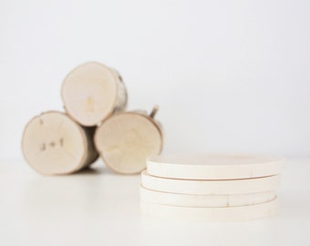 Sale - natural birch wood coasters (no bark) - set of 4, modern rustic coasters, wood slice coasters, tree branch coasters