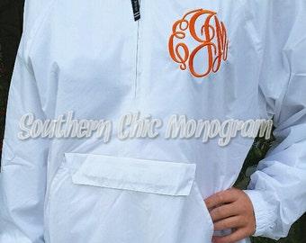 Monogrammed personalized pullover Jacket Rain jacket Sorority Greek Charles River Brand Tennessee Alabama Crimson Florida Ole Miss