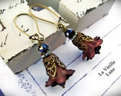 Chocolate Lily Flower Victorian Earrings, Flower Earrings in Antique Brass, Victorian Jewelry