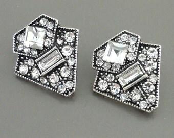 Art Deco Earrings - Silver Earrings - Crystal Earrings - Bridal Earrings - Upcycle Earrings - Stud Earrings