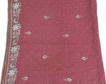 Vintage Shawl/Stole. Regency Style. Dusky Pink,  gilt embroidery, silver beads