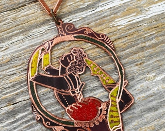 "Vintage Circus Themed ""The Little Acrobat""  Necklace- Copper Necklace Hand Engraved & Heat Patinaed, Classic Tatto Flash Inspired"